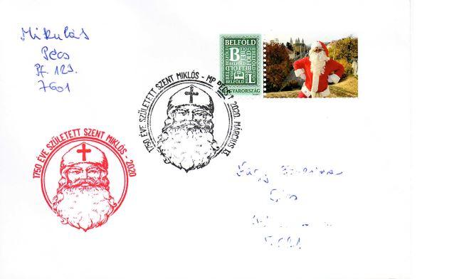 Postai karácsonyi levél a Pécsi Mikulástól Szent Miklós bélyegzővel